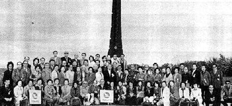 開道百年記念塔前にて